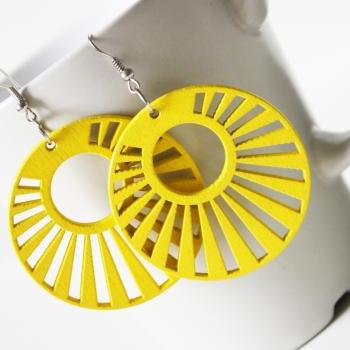Trend Yellow Fortune Wheel Laser Cut Wood Earring