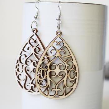 Natural Angle Curtain Drop Filigree Cut Wood Earring